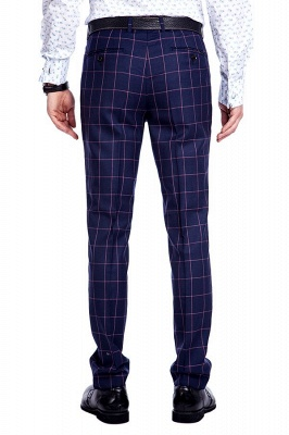 New Arrival Navy Blue Checks Two Button Custom Made Suit UK | Peak Lapel Single Breasted Slim Fit Groomsman Suit_9