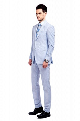 Blue Stripes Single Breasted Wedding Bestman Tuxedos | Peaked Lapel Two Buttons Tailor Made Causal Suit for Men_2