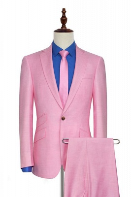 Bright Pink Three Slant Pocket Custom Made Suit UK | Single Breasted One Button Bestman Wedding Tuxedos_1