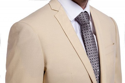 High Quality Bright Khaki Notched Lapel Men Business Suit | Single Breasted 3 Pockets Tailoring Suit_6