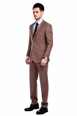 Light Brown Single Breasted Notched Lapel Custom Business Suit | High Quality 3 Pocket Fashion British Men Suit_2
