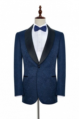 Navy Blue Popular Jacquard Custom Luxury Suit | Single Breasted One Button Bestman Wedding Tuxedos_1