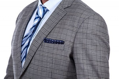 Modern Peak Lapel Grey Checked British Men Suit | 3 Pockets Customize Single Breasted UK Wedding Suit_4