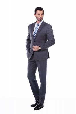 New Dark Grey Windows Slim Fit Custom Suits For Man | Customize Single Breasted Peak Lapel Groomsman_1