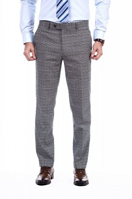 Modern Peak Lapel Grey Checked British Men Suit | 3 Pockets Customize Single Breasted UK Wedding Suit_7