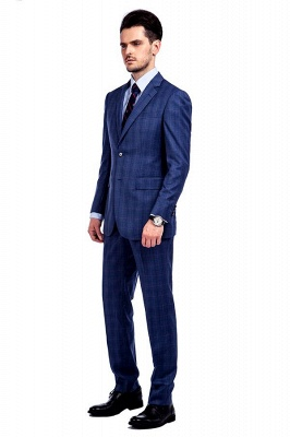 New Arriving High Quality Blue Checks Wool Suit for Men | Modern Peak Lapel Back Vent Customize Single Breasted UK Wedding Suit_2