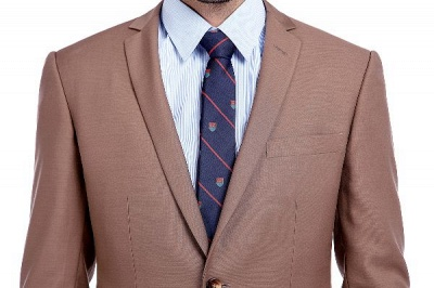 Light Brown Single Breasted Notched Lapel Custom Business Suit | High Quality 3 Pocket Fashion British Men Suit_4