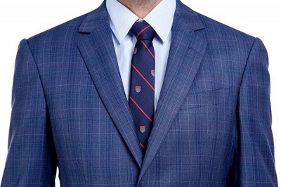 New Arriving High Quality Blue Checks Wool Suit for Men | Modern Peak Lapel Back Vent Customize Single Breasted UK Wedding Suit_4
