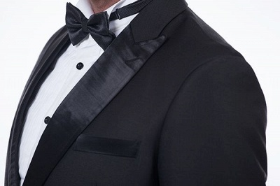 Popular Solid Black Stain Designs Fit Suit | Three Pockets Peaked Lapel Wedding British Bestman Suits_6