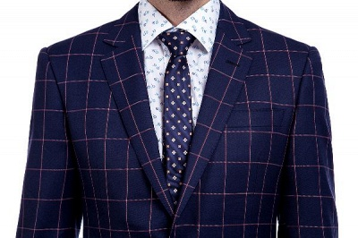 New Arrival Navy Blue Checks Two Button Custom Made Suit UK | Peak Lapel Single Breasted Slim Fit Groomsman Suit_4