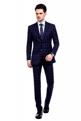 New Arrival Navy Blue Checks Two Button Custom Made Suit UK | Peak Lapel Single Breasted Slim Fit Groomsman Suit_1