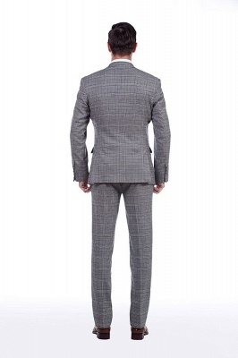 Modern Peak Lapel Grey Checked British Men Suit | 3 Pockets Customize Single Breasted UK Wedding Suit_3
