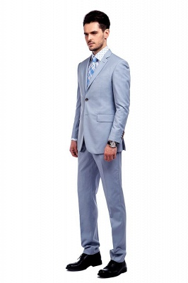 Fashion Light Blue Peaked Lapel Wool Custom Made Suit UK | Three Pockets Single Breasted Wedding British Bestman Suits_2