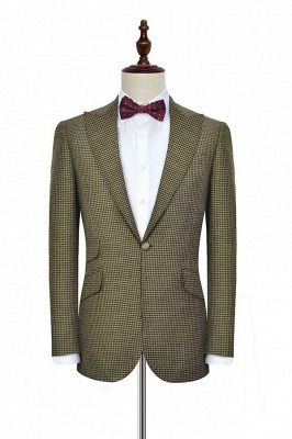 Bespoke Single Breasted One Button 3 Pocket Tailored Suit UK | Aureate Wool Small Grid Peak Lapel Bestman Wedding Tuxedos_3