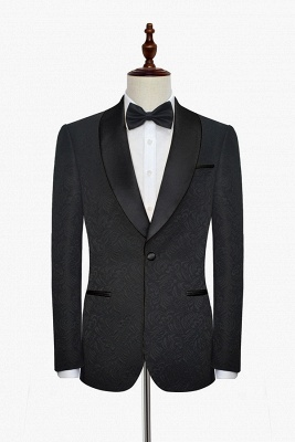 Pure Black Jacquard Shawl Collar One Button Custom Made Suit UK | New Arrival 3 Pockets Single Breasted Slim Fit Groomsman Suit_3