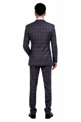 New Trendy Bespoke High Quality Grey Checks Suit for Men | Fashion Peak Lapel 2 Pocket Single Breasted UK Wedding Suit_3