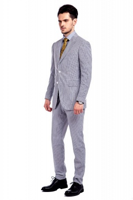 Popular Grey Stripes Breathable Causal Suit for Men | Peak Lapel Customize Single Breasted British Men Suit_2