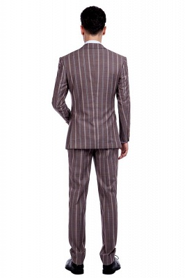 Bespoke Stripe Tailored Double Breasted 2 Piece Suits | Peak Lapel 3 Pocket Customized suit UK For Men_3