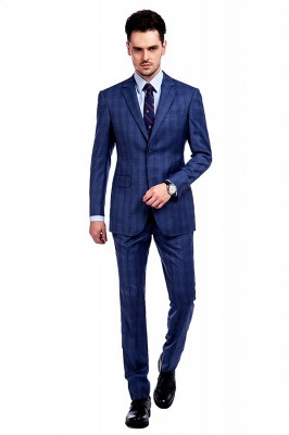 New Arriving High Quality Blue Checks Wool Suit for Men | Modern Peak Lapel Back Vent Customize Single Breasted UK Wedding Suit_1