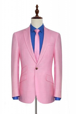 Bright Pink Three Slant Pocket Custom Made Suit UK | Single Breasted One Button Bestman Wedding Tuxedos_3