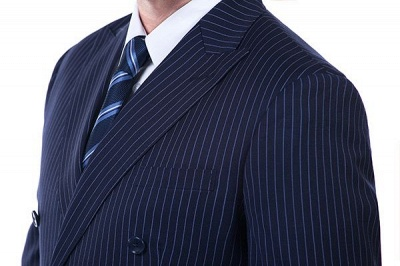Fashion Double Breasted Navy Blue Made to Measure Suit | Modern Stripe Peak Lapel UK Wedding Suit For Men_5