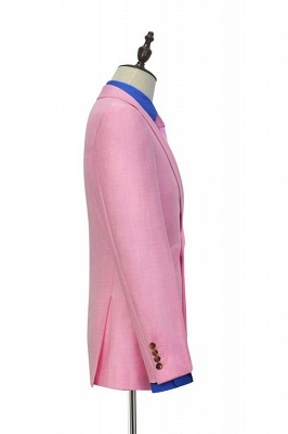 Bright Pink Three Slant Pocket Custom Made Suit UK | Single Breasted One Button Bestman Wedding Tuxedos_5
