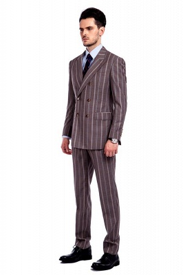 Bespoke Stripe Tailored Double Breasted 2 Piece Suits | Peak Lapel 3 Pocket Customized suit UK For Men_2