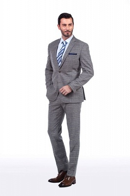 Modern Peak Lapel Grey Checked British Men Suit | 3 Pockets Customize Single Breasted UK Wedding Suit_2