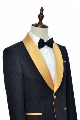 Bespoke Black Champagne Shawl Collar Jacquard Tailor Custom Made Suit UK | Single Breasted One Button UK Wedding Suit For Bestman_4