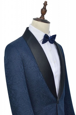 Navy Blue Popular Jacquard Custom Luxury Suit | Single Breasted One Button Bestman Wedding Tuxedos_4