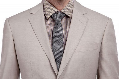 Light Khaki Single Breasted Two Button Custom Suit | High Quality Peaked Lapel Hand Made Wool Suit for Men_4