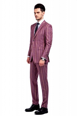 Dark Pink Checks Single Breasted Peaked Lapel Tuxedos | New Arriving Suit Formal Suit for Groomsman_2