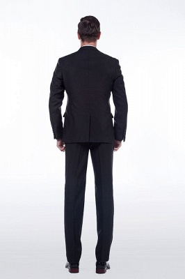 Popular Solid Black Stain Designs Fit Suit | Three Pockets Peaked Lapel Wedding British Bestman Suits_4