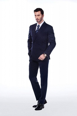 Fashion Double Breasted Navy Blue Made to Measure Suit | Modern Stripe Peak Lapel UK Wedding Suit For Men_2