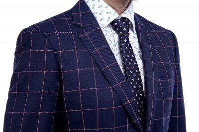 New Arrival Navy Blue Checks Two Button Custom Made Suit UK | Peak Lapel Single Breasted Slim Fit Groomsman Suit_5