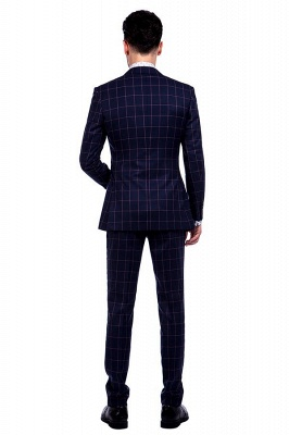 New Arrival Navy Blue Checks Two Button Custom Made Suit UK | Peak Lapel Single Breasted Slim Fit Groomsman Suit_3