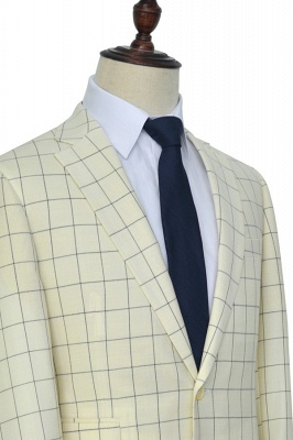 Cream White Wool Large Lattice Two button Tailored Suit UK For Men | Bespoke Peak Lapel Single Breasted Tailored 2 Piece Suits_3