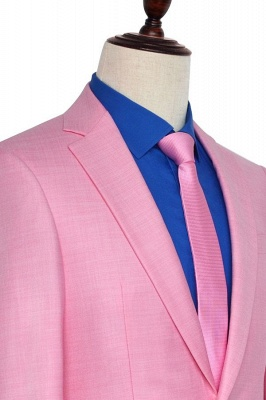 Bright Pink Three Slant Pocket Custom Made Suit UK | Single Breasted One Button Bestman Wedding Tuxedos_4