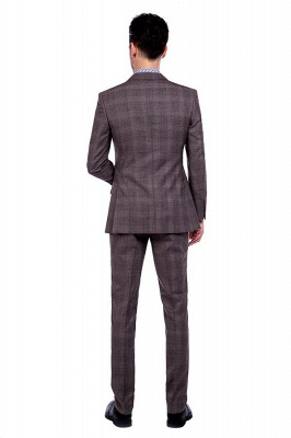 Latest Design Notched Lapel Brown Checks Custom British Men Suit | Single Breasted Made to Measure High Quality Business Suit_3