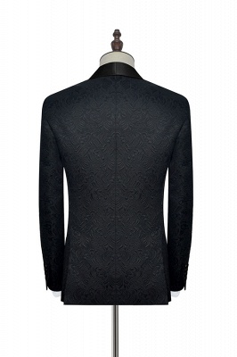 Pure Black Jacquard Shawl Collar One Button Custom Made Suit UK | New Arrival 3 Pockets Single Breasted Slim Fit Groomsman Suit_6