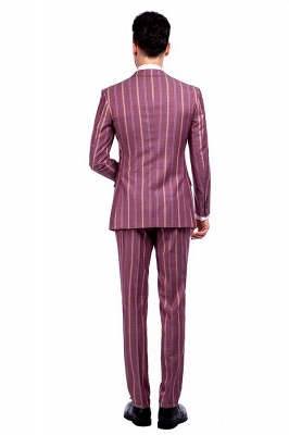 Dark Pink Checks Single Breasted Peaked Lapel Tuxedos | New Arriving Suit Formal Suit for Groomsman_3