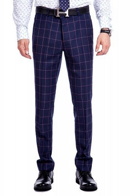 New Arrival Navy Blue Checks Two Button Custom Made Suit UK | Peak Lapel Single Breasted Slim Fit Groomsman Suit_7