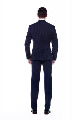 Fashion Double Breasted Navy Blue Made to Measure Suit | Modern Stripe Peak Lapel UK Wedding Suit For Men_3