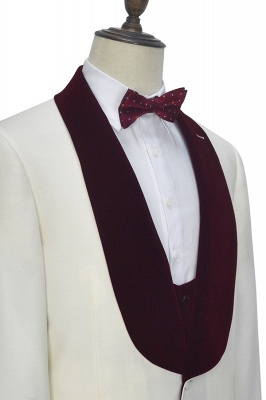 White Red Velvet Shawl Collar One Button UK Wedding Suit For Bestman | Latest Design Single Breasted Slim Fit Suit_7
