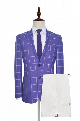 Bespoke Violet Purple Two Patch Pockets Custom Suit | Classic Single Breasted Peak Lapel Wedding Tuxedos For Bestman