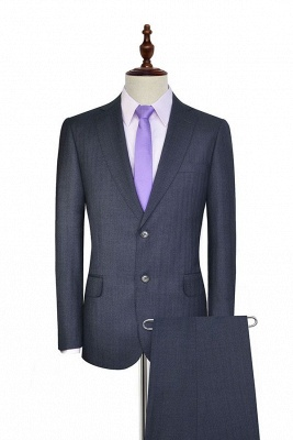 Dark Grey Wool Stripe Two botton Suit For Men | New Arriving Single Breasted UK Wedding Suit For Bestman
