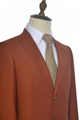 New Trendy Rust Red Two Button Custom Suit For Office | Single Breasted Peaked Lapel Tailoring Suit_6