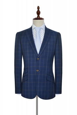 Dark Blue Wool Shawl Collar UK Wedding Suit For Bestman | New Arriving Single Breasted Tailor Made British Men Suit_3