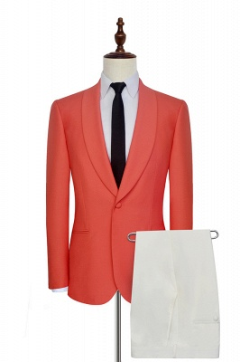 New Trendy Single Breasted One Button 2 Pocket Tailored Suit UK | Watermelon Red Shawl Collar Custom Suit Bestman Wedding Tuxedos