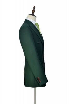 Green Double Breasted Tailored Suit UK For Formal | Peaked Lapel 3 Pockets Custom Made Causal Suit_5
